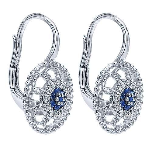 14k White Gold Diamond  And Sapphire Drop Earrings angle 2