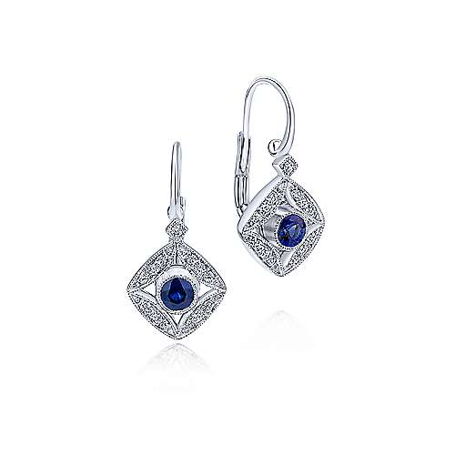 14k White Gold Diamond  And Sapphire Drop Earrings angle 1