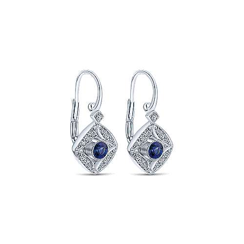 14k White Gold Diamond  And Sapphire Drop Earrings angle 2
