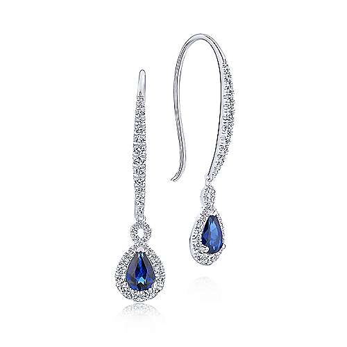 14k White Gold Diamond  And Sapphire Drop