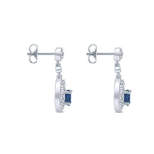 14k White Gold Diamond  And Sapphire Drop Earrings angle 3