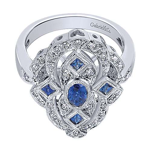 Gabriel - 14k White Gold Victorian Fashion Ladies' Ring