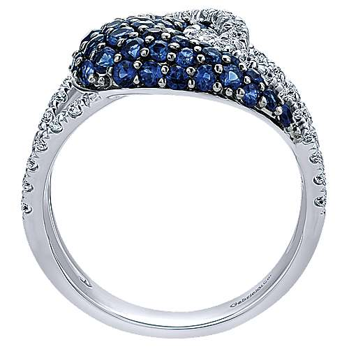 14k White Gold Diamond  And Sapphire Fashion Ladies