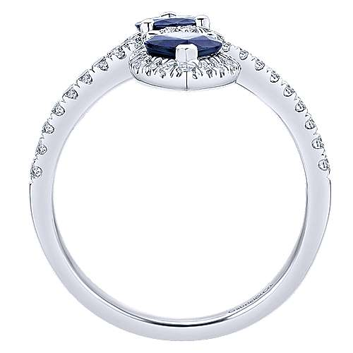 14k White Gold Diamond  And Sapphire Fashion Ladies