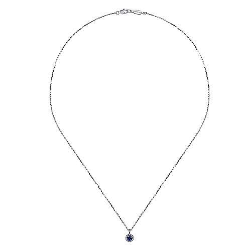 14k White Gold Diamond  And Sapphire Fashion Necklace angle 2