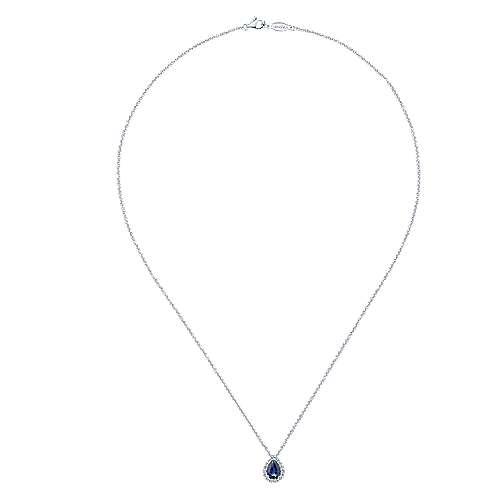 14k White Gold Diamond  And Sapphire Fashion Necklace angle 2