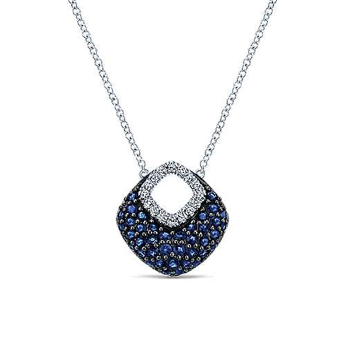 14k White Gold Diamond  And Sapphire Fashion Necklace angle 1