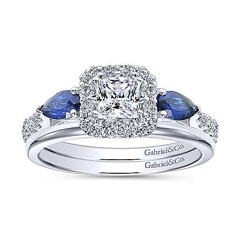 14k White Gold Diamond  And Sapphire Halo Engagement Ring angle 4