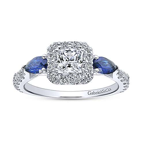 14k White Gold Diamond  And Sapphire Halo Engagement Ring angle 5