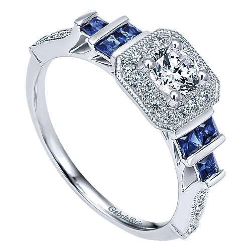 14k White Gold Diamond  And Sapphire Halo Engagement Ring angle 3