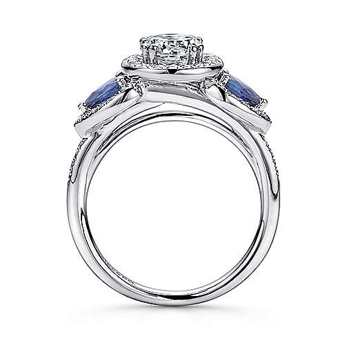 14k White Gold Diamond  And Sapphire Halo Engagement Ring angle 2