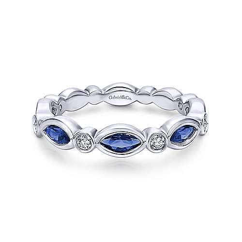 14k White Gold Diamond  And Sapphire Stackable