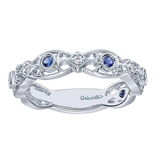 14k White Gold Diamond  And Sapphire Stackable Ladies