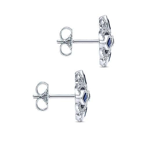 14k White Gold Diamond  And Sapphire Stud Earrings angle 3