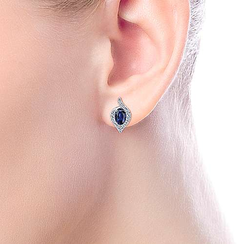 14k White Gold Diamond  And Sapphire Stud Earrings angle 2
