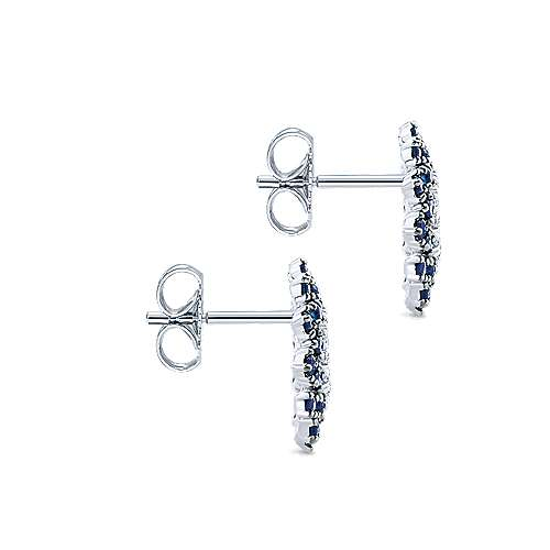 14k White Gold Diamond  And Sapphire Stud Earrings angle 3