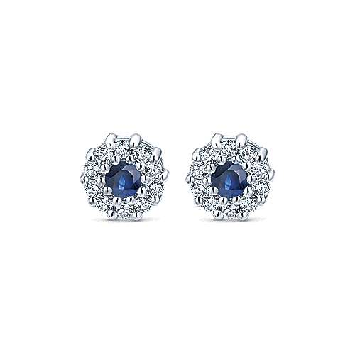 14k White Gold Diamond  And Sapphire Stud Earrings angle 1