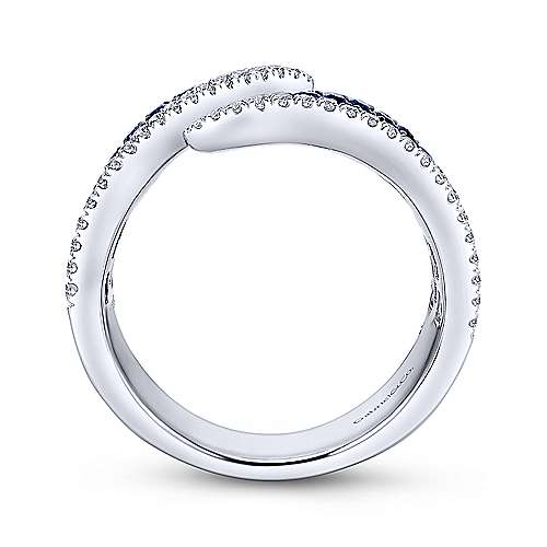 14k White Gold Diamond  And Sapphire Wide Band Ladies