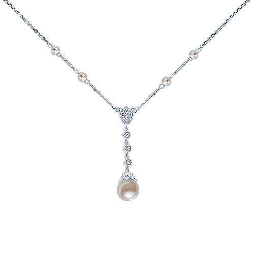 14k White Gold Diamond & Cultured Pearl Y Knot Necklace