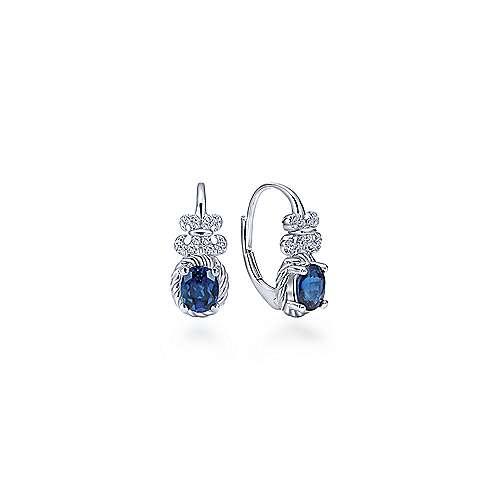 14k White Gold Diamond & Oval Sapphire Drop Earrings