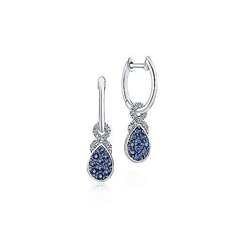 14k White Gold Diamond & Pear Shaped Sapphire Cluster Huggie Drop Earrings