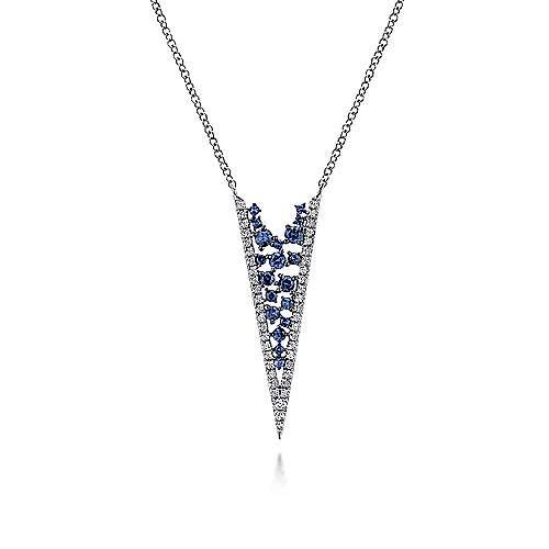 14k white gold diamond sapphire v necklace nk5328w45sa gabriel 14k white gold diamond sapphire v necklace aloadofball Image collections