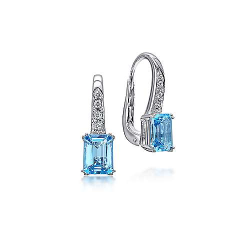 14k White Gold Diamond & Swiss Blue Topaz Drop Earrings