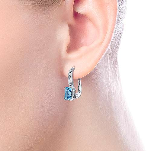14k White Gold Diamond & Swiss Blue Topaz Drop Earrings angle 2