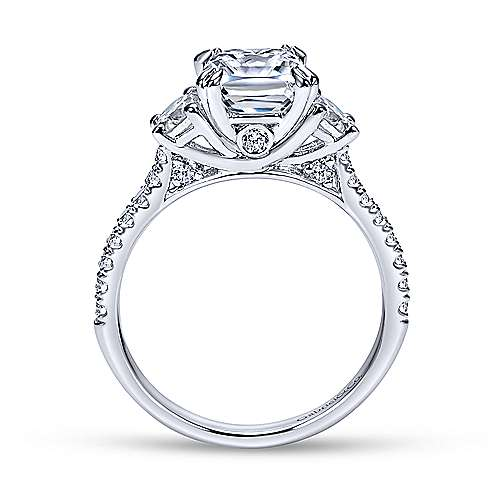 14k White Gold Diamond 3 Stone Cushion Cut Engagement Ring and Pave Band angle 2
