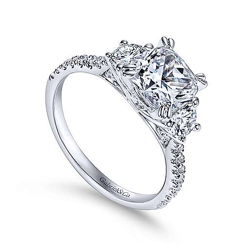 14k White Gold Diamond 3 Stone Cushion Cut Engagement Ring and Pave Band angle 3