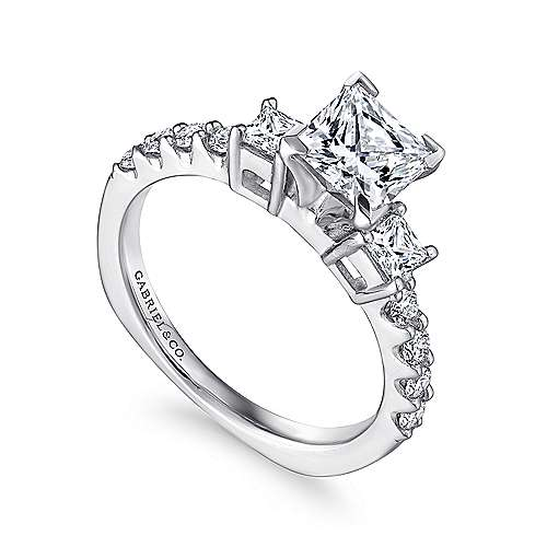 14k White Gold Diamond 3 Stone Princess Cut Engagement Ring with European Shank angle 3