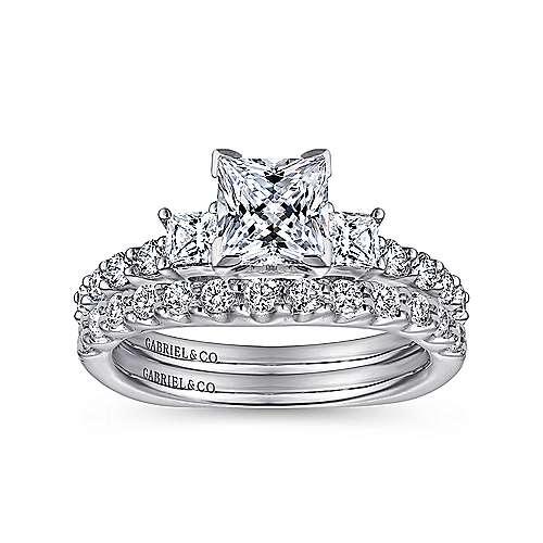 14k White Gold Diamond 3 Stone Princess Cut Engagement Ring with European Shank angle 4