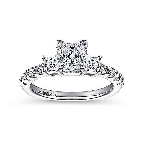 14k White Gold Diamond 3 Stone Princess Cut Engagement Ring with European Shank angle 5
