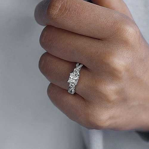 14k White Gold Diamond 3 Stones Engagement Ring angle 6