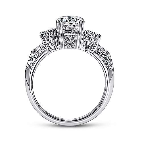 14k White Gold Diamond 3 Stones Engagement Ring angle 2