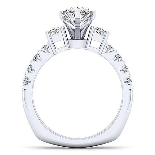 14k White Gold Diamond 3 Stones Engagement Ring angle 2