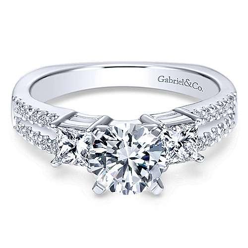 14k White Gold Diamond 3 Stones