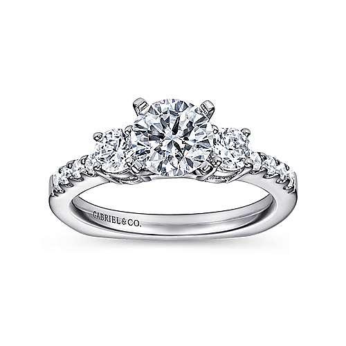 14k White Gold Diamond 3 Stones Engagement Ring angle 5