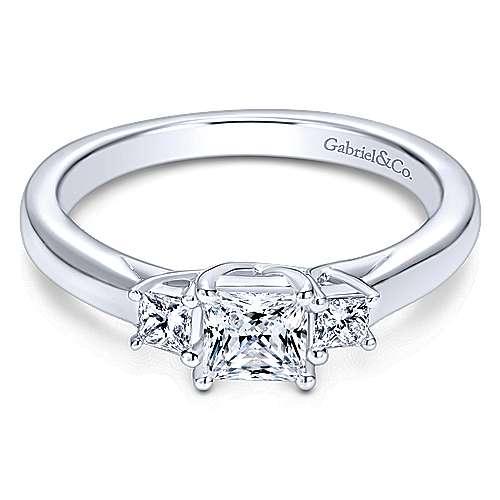 14k White Gold Princess Cut 3 Stones