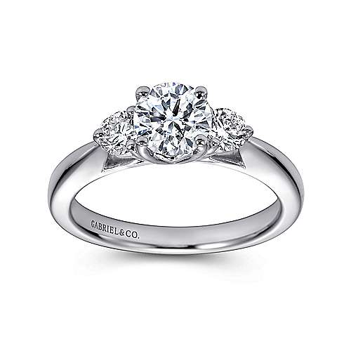14k White Gold Diamond 3 Stones Engagement Ring angle 5