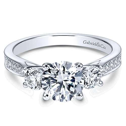 Gabriel - 14k White Gold Round 3 Stones Engagement Ring