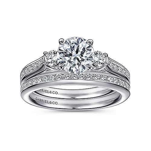14k White Gold Diamond 3 Stones Engagement Ring angle 4