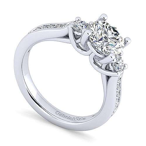 14k White Gold Diamond 3 Stones Engagement Ring angle 3