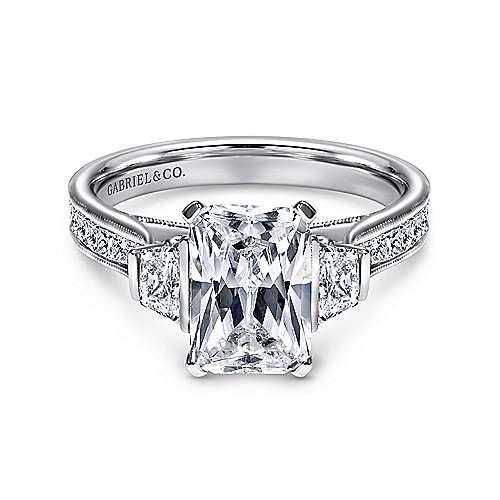 Gabriel - 14k White Gold Emerald Cut 3 Stones Engagement Ring