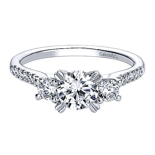 14k White Gold Diamond 3 Stones Engagement Ring angle 1