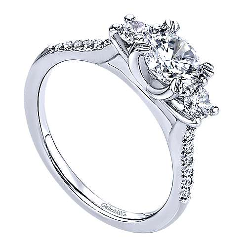 14k White Gold Diamond 3 Stones Engagement Ring angle 3
