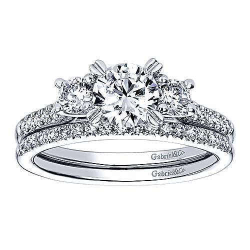 14k White Gold Diamond 3 Stones Engagement Ring angle 4