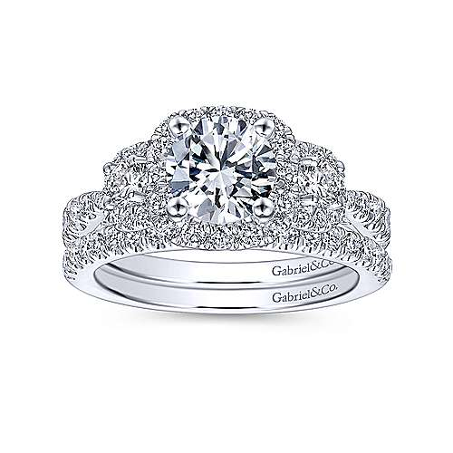 14k White Gold Diamond 3 Stones Halo Engagement Ring angle 4