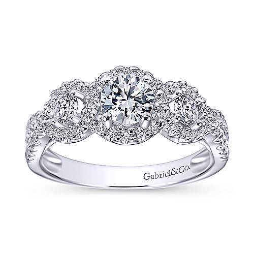 14k White Gold Diamond 3 Stones Halo Engagement Ring angle 5