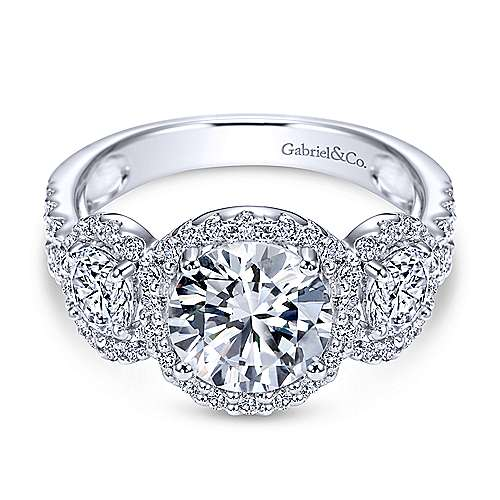 14k White Gold Diamond 3 Stones Halo